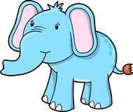 Blue Cute Elephant Vector Royalty Free Stock Image