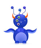 Blue cute monster with three eyes and horn Royalty Free Stock Photography