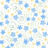 Blue cute watercolor flowers seamless pattern Stock Photos