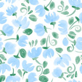 Blue cute  watercolor flowers seamless pattern Stock Image