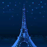 Blue cutout paper night vector Eiffel tower. Blue cutout paper night Eiffel tower, vector illustration Royalty Free Stock Photos