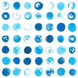 Blue cyan circles created with round handmade ink stamps Stock Image