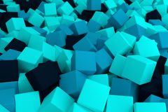 Blue cyan cubes. 3d cg volumetric blue cubes background Stock Photos