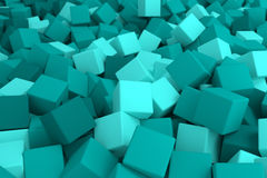Blue cyan cubes. 3d cg volumetric blue cubes background Stock Photography
