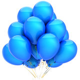Blue cyan party balloons (Hi-Res). Party helium balloons colored blue with cyan. Positive emotions. This is a detailed 3D render. Isolated on white background Royalty Free Stock Photos