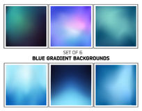 Blue and cyan smooth blurred gradients vector backgrounds. Set of six abstract blue and cyan cold smooth blurred gradients vector backgrounds for design Royalty Free Stock Photography