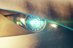 Blue cyber eye with mean look. Metallic blue robotic eye with abstrat bright light and mean look. Cyber technology concept. 3D Rendering Stock Photo