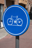 Blue Cycle Lane Sign, Leuven Royalty Free Stock Photo