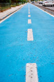 Blue cycle path along the coast Royalty Free Stock Photo