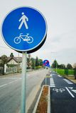 Bicycle and pedestrian shared route sign Stock Photo