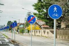 Bicycle and pedestrian shared route sign Royalty Free Stock Photo