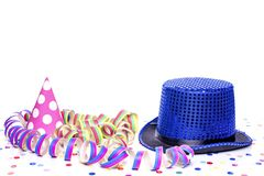 Blue cylinder. With carnival hat Stock Image