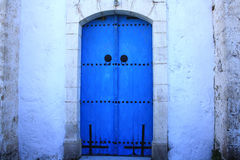 Blue cyprus door. Medditerian stylein the sunny island Cyprus royalty free stock image