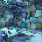 Blue 3d abstract shape interior fragmented Stock Photography