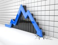 Blue 3d arrow crash Stock Photos