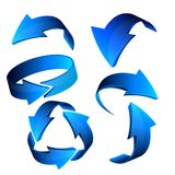 Blue 3d arrow web icon set, vector.  Stock Image
