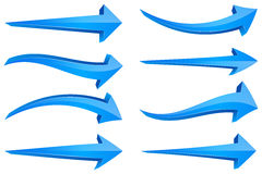 Blue 3D Arrows. A set of 8 different blue arrows with a 3D design. Great for pointing out or drawing attention to special parts of your design Stock Photo