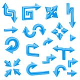 Blue 3d arrows. Set of different shiny web signs. Vector illustration  on white background Royalty Free Stock Image