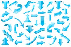Blue 3d arrows. Set of shiny signs. Vector illustration isolated on white background Royalty Free Stock Images