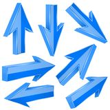 Blue 3d arrows. Set of shiny straight signs. Vector illustration isolated on white background vector illustration