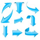 Blue 3d arrows. Shiny icons. Vector illustration isolated on white background Royalty Free Stock Photo