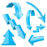 Blue 3d arrows. Shiny icons. Vector illustration isolated on white background Royalty Free Stock Photos