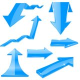 Blue 3d arrows. Shiny icons. Vector illustration isolated on white background Stock Images