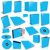 Blue 3d blank cover collection. Isolated on white Stock Photo