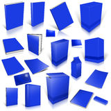 Blue 3d blank cover collection. On white Stock Photos