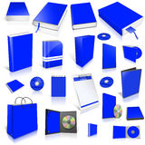 Blue 3d blank cover collection. On white Royalty Free Stock Image