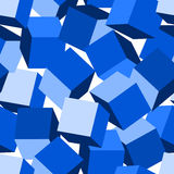 Blue 3D blocks in a seamless pattern.  Royalty Free Stock Images