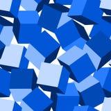 Blue 3D blocks in a seamless pattern.  stock illustration