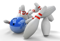 Blue 3D bowling ball smashing into pins for a strike. Render of a blue 3D bowling bowl knocking down all 10 pins in one strike Stock Photography