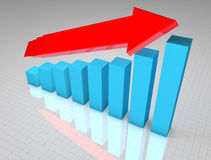 Blue 3D business graph growth Royalty Free Stock Photos