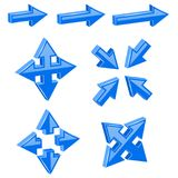 Blue 3d combo arrows. Different directions. Vector illustration isolated on white background Royalty Free Stock Image