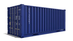 Blue 3d Container Isolated on White. Royalty Free Stock Photo