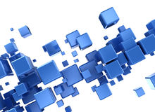 Blue 3d cubes abstract background. Abstract 3d digital cubes isolated on white  background Royalty Free Stock Photography