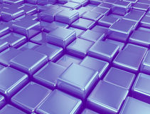 Blue 3d cubes background. Background of metallic cubes - 3d render Stock Image
