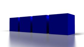 Blue 3D cubes. Blank blue 3D cubes  on white Royalty Free Stock Images