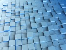 Blue 3d cubes digital background. Blue 3d cubes. 3d render background image Royalty Free Stock Photography