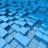 Blue 3D cubes floor square background. 3D rendering. Technology backdrop Stock Photos