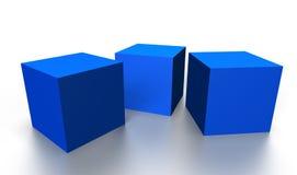Blue 3D cubes Royalty Free Stock Photos