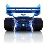 Blue 3D formula car back view with floor reflection Stock Images