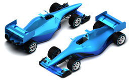 Blue 3D formula car isolated on white isometric view Royalty Free Stock Images