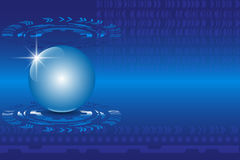 Blue 3D globe sphere on an abstract technology blue background Stock Image