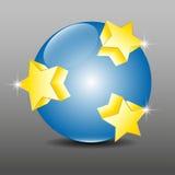 Blue 3D globe sphere and golden stars Stock Images