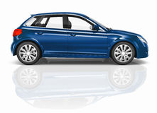 Blue 3D Hatchback Car Illustration Stock Photos
