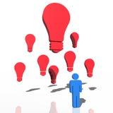 Blue 3d humanoid having an idea. Red 3d light bulbs as a concept for idea, creativity and imagination Stock Photos