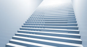 Blue 3d interior background with staircase goes up Royalty Free Stock Photos