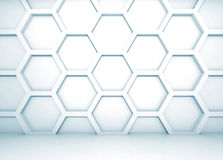 Blue 3d interior with honeycomb pattern on the wall Stock Images
